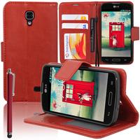 LG F70 D315/ LTE: Accessoire Etui portefeuille Livre Housse Coque Pochette support vidéo cuir PU + Stylet - ROUGE