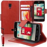 LG F70 D315/ LTE: Accessoire Etui portefeuille Livre Housse Coque Pochette support vidéo cuir PU + mini Stylet - ROUGE
