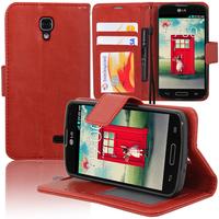LG F70 D315/ LTE: Accessoire Etui portefeuille Livre Housse Coque Pochette support vidéo cuir PU - ROUGE