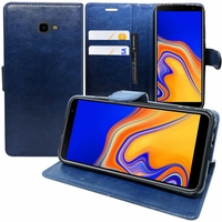 """Samsung Galaxy J4+/ J4 Plus (2018) 6.0"""" (non compatible Galaxy J4 5.5"""") [Les Dimensions EXACTES du telephone: 161.4 x 76.9 x 7.9 mm]: Accessoire Etui portefeuille Livre Housse Coque Pochette support vidéo cuir PU - BLEU FONCE"""