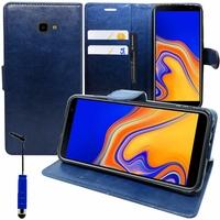 """Samsung Galaxy J4+/ J4 Plus (2018) 6.0"""" (non compatible Galaxy J4 5.5"""") [Les Dimensions EXACTES du telephone: 161.4 x 76.9 x 7.9 mm]: Accessoire Etui portefeuille Livre Housse Coque Pochette support vidéo cuir PU + mini Stylet - BLEU FONCE"""