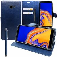 """Samsung Galaxy J4+/ J4 Plus (2018) 6.0"""" (non compatible Galaxy J4 5.5"""") [Les Dimensions EXACTES du telephone: 161.4 x 76.9 x 7.9 mm]: Accessoire Etui portefeuille Livre Housse Coque Pochette support vidéo cuir PU + Stylet - BLEU FONCE"""