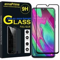"""Samsung Galaxy A40 5.9"""" SM-A405F/ SM-A405FN/ SM-A405F/DS/ SM-A405FN/DS [Les Dimensions EXACTES du telephone: 144.4 x 69.2 x 7.9 mm]: 1 Film PLEINE COLLE Verre Trempé 2,5D Ultra Clair 9H Dureté Protecteur d'écran FULL GLUE - Couleur - NOIR"""