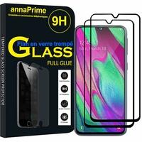 """Samsung Galaxy A40 5.9"""" SM-A405F/ SM-A405FN/ SM-A405F/DS/ SM-A405FN/DS [Les Dimensions EXACTES du telephone: 144.4 x 69.2 x 7.9 mm]: Lot/ Pack 2 Films PLEINE COLLE Verre Trempé 2,5D Ultra Clair 9H Dureté Protecteur d'écran FULL GLUE - Couleur - NOIR"""