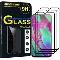 """Samsung Galaxy A40 5.9"""" SM-A405F/ SM-A405FN/ SM-A405F/DS/ SM-A405FN/DS [Les Dimensions EXACTES du telephone: 144.4 x 69.2 x 7.9 mm]: Lot/ Pack 3 Films PLEINE COLLE Verre Trempé 2,5D Ultra Clair 9H Dureté Protecteur d'écran FULL GLUE - Couleur - NOIR"""