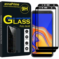 "Samsung Galaxy J4 Core (2018) 6.0"" (non compatible Galaxy J4 5.5"") [Les Dimensions EXACTES du telephone: 161.4 x 76.9 x 7.9 mm]: Lot/ Pack 2 Films PLEINE COLLE Verre Trempé 2,5D Ultra Clair 9H Dureté Protecteur d'écran FULL GLUE - Couleur - NOIR"