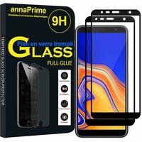 """Samsung Galaxy J4+/ J4 Plus (2018) 6.0"""" (non compatible Galaxy J4 5.5"""") [Les Dimensions EXACTES du telephone: 161.4 x 76.9 x 7.9 mm]: Lot/ Pack 2 Films PLEINE COLLE Verre Trempé 2,5D Ultra Clair 9H Dureté Protecteur d'écran FULL GLUE - Couleur - NOIR"""