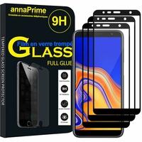 """Samsung Galaxy J4+/ J4 Plus (2018) 6.0"""" (non compatible Galaxy J4 5.5"""") [Les Dimensions EXACTES du telephone: 161.4 x 76.9 x 7.9 mm]: Lot/ Pack 3 Films PLEINE COLLE Verre Trempé 2,5D Ultra Clair 9H Dureté Protecteur d'écran FULL GLUE - Couleur - NOIR"""