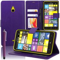 Nokia Lumia 1320: Accessoire Etui portefeuille Livre Housse Coque Pochette support vidéo cuir PU + Stylet - VIOLET