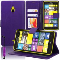 Nokia Lumia 1320: Accessoire Etui portefeuille Livre Housse Coque Pochette support vidéo cuir PU + mini Stylet - VIOLET