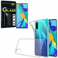 """Huawei P30 6.1"""" ELE-L29/ ELE-L09/ ELE-AL00/ ELE-TL00: Etui Housse Pochette Accessoires Coque gel UltraSlim - TRANSPARENT + 1 Film de protection d'écran Verre Trempé"""