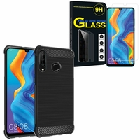 """Huawei P30 Lite 6.15"""" MAR-LX1M/ MAR-AL00/ MAR-TL00: Coque Housse Silicone Souple en Fibre de Carbone Brossé motif TPU Case - NOIR + 1 Film de protection d'écran Verre Trempé"""