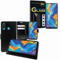 """Huawei P30 Lite 6.15"""" MAR-LX1M/ MAR-AL00/ MAR-TL00: Etui Coque Housse Pochette Accessoires portefeuille support video cuir PU - NOIR + 1 Film de protection d'écran Verre Trempé"""