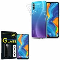"""Huawei P30 Lite 6.15"""" MAR-LX1M/ MAR-AL00/ MAR-TL00: Etui Housse Pochette Accessoires Coque gel UltraSlim - TRANSPARENT + 1 Film de protection d'écran Verre Trempé"""