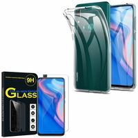 """Huawei P Smart Z (2019) 6.59"""" (non compatible Huawei P smart 2017 5.65""""/ P Smart Plus 2019 6.21""""/ P Smart (2019) 6.21""""): Etui Housse Pochette Accessoires Coque gel UltraSlim - TRANSPARENT + 1 Film de protection d'écran Verre Trempé"""