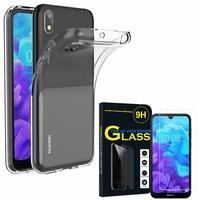 """Huawei Y5 (2019) 5.71"""" AMN-LX1/ AMN-LX2/ AMN-LX3/ AMN-LX9: Etui Housse Pochette Accessoires Coque gel UltraSlim - TRANSPARENT + 1 Film de protection d'écran Verre Trempé"""
