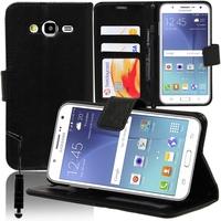 Samsung Galaxy J5 SM-J500F: Accessoire Etui portefeuille Livre Housse Coque Pochette support vidéo cuir PU + mini Stylet - NOIR