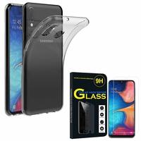 """Samsung Galaxy A20E/ A20e Dual SIM 5.8"""" SM-A202F/ SM-A202F/DS: Etui Housse Pochette Accessoires Coque gel UltraSlim - TRANSPARENT + 1 Film de protection d'écran Verre Trempé"""
