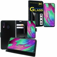 """Samsung Galaxy A40 5.9"""" SM-A405F/ SM-A405FN/ SM-A405F/DS/ SM-A405FN/DS: Etui Coque Housse Pochette Accessoires portefeuille support video cuir PU - NOIR + 1 Film de protection d'écran Verre Trempé"""