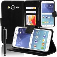 Samsung Galaxy J5 SM-J500F: Accessoire Etui portefeuille Livre Housse Coque Pochette support vidéo cuir PU + Stylet - NOIR