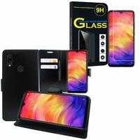 """Xiaomi Redmi Note 7S 6.3"""" M1901F71: Etui Coque Housse Pochette Accessoires portefeuille support video cuir PU - NOIR + 1 Film de protection d'écran Verre Trempé"""