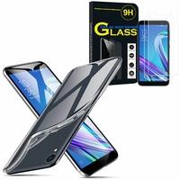 """Asus ZenFone Live (L1) ZA550KL 5.5""""/ ASUS_X00RD: Etui Housse Pochette Accessoires Coque gel UltraSlim - TRANSPARENT + 2 Films de protection d'écran Verre Trempé"""