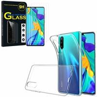 """Huawei P30 6.1"""" ELE-L29/ ELE-L09/ ELE-AL00/ ELE-TL00: Etui Housse Pochette Accessoires Coque gel UltraSlim - TRANSPARENT + 2 Films de protection d'écran Verre Trempé"""