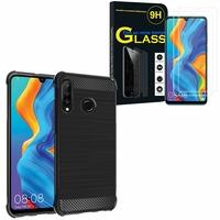 """Huawei P30 Lite 6.15"""" MAR-LX1M/ MAR-AL00/ MAR-TL00: Coque Housse Silicone Souple en Fibre de Carbone Brossé motif TPU Case - NOIR + 2 Films de protection d'écran Verre Trempé"""