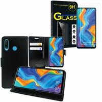 """Huawei P30 Lite 6.15"""" MAR-LX1M/ MAR-AL00/ MAR-TL00: Etui Coque Housse Pochette Accessoires portefeuille support video cuir PU - NOIR + 2 Films de protection d'écran Verre Trempé"""