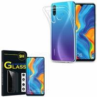 """Huawei P30 Lite 6.15"""" MAR-LX1M/ MAR-AL00/ MAR-TL00: Etui Housse Pochette Accessoires Coque gel UltraSlim - TRANSPARENT + 2 Films de protection d'écran Verre Trempé"""