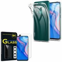 """Huawei P Smart Z (2019) 6.59"""" (non compatible Huawei P smart 2017 5.65""""/ P Smart Plus 2019 6.21""""/ P Smart (2019) 6.21""""): Etui Housse Pochette Accessoires Coque gel UltraSlim - TRANSPARENT + 2 Films de protection d'écran Verre Trempé"""