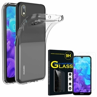 """Huawei Y5 (2019) 5.71"""" AMN-LX1/ AMN-LX2/ AMN-LX3/ AMN-LX9: Etui Housse Pochette Accessoires Coque gel UltraSlim - TRANSPARENT + 2 Films de protection d'écran Verre Trempé"""