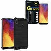 """Huawei Y6 Pro (2019) 6.09"""" MRD-LX2: Coque Housse Silicone Souple en Fibre de Carbone Brossé motif TPU Case - NOIR + 2 Films de protection d'écran Verre Trempé"""