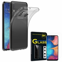 """Samsung Galaxy A20E/ A20e Dual SIM 5.8"""" SM-A202F/ SM-A202F/DS: Etui Housse Pochette Accessoires Coque gel UltraSlim - TRANSPARENT + 2 Films de protection d'écran Verre Trempé"""