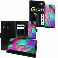 """Samsung Galaxy A40 5.9"""" SM-A405F/ SM-A405FN/ SM-A405F/DS/ SM-A405FN/DS: Etui Coque Housse Pochette Accessoires portefeuille support video cuir PU - NOIR + 2 Films de protection d'écran Verre Trempé"""