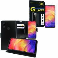 """Xiaomi Redmi Note 7S 6.3"""" M1901F71: Etui Coque Housse Pochette Accessoires portefeuille support video cuir PU - NOIR + 2 Films de protection d'écran Verre Trempé"""