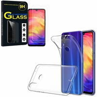 """Xiaomi Redmi Note 7S 6.3"""" M1901F71: Etui Housse Pochette Accessoires Coque gel UltraSlim - TRANSPARENT + 2 Films de protection d'écran Verre Trempé"""