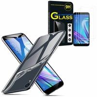 """Asus ZenFone Live (L1) ZA550KL 5.5""""/ ASUS_X00RD: Etui Housse Pochette Accessoires Coque gel UltraSlim - TRANSPARENT + 3 Films de protection d'écran Verre Trempé"""