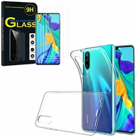 """Huawei P30 6.1"""" ELE-L29/ ELE-L09/ ELE-AL00/ ELE-TL00: Etui Housse Pochette Accessoires Coque gel UltraSlim - TRANSPARENT + 3 Films de protection d'écran Verre Trempé"""