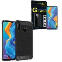 """Huawei P30 Lite 6.15"""" MAR-LX1M/ MAR-AL00/ MAR-TL00: Coque Housse Silicone Souple en Fibre de Carbone Brossé motif TPU Case - NOIR + 3 Films de protection d'écran Verre Trempé"""