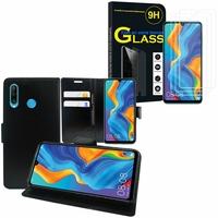 """Huawei P30 Lite 6.15"""" MAR-LX1M/ MAR-AL00/ MAR-TL00: Etui Coque Housse Pochette Accessoires portefeuille support video cuir PU - NOIR + 3 Films de protection d'écran Verre Trempé"""