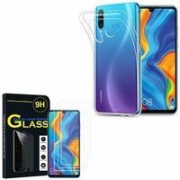 """Huawei P30 Lite 6.15"""" MAR-LX1M/ MAR-AL00/ MAR-TL00: Etui Housse Pochette Accessoires Coque gel UltraSlim - TRANSPARENT + 3 Films de protection d'écran Verre Trempé"""