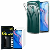 """Huawei P Smart Z (2019) 6.59"""" (non compatible Huawei P smart 2017 5.65""""/ P Smart Plus 2019 6.21""""/ P Smart (2019) 6.21""""): Etui Housse Pochette Accessoires Coque gel UltraSlim - TRANSPARENT + 3 Films de protection d'écran Verre Trempé"""
