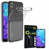 """Huawei Y5 (2019) 5.71"""" AMN-LX1/ AMN-LX2/ AMN-LX3/ AMN-LX9: Etui Housse Pochette Accessoires Coque gel UltraSlim - TRANSPARENT + 3 Films de protection d'écran Verre Trempé"""