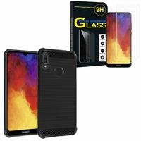 """Huawei Y6 Pro (2019) 6.09"""" MRD-LX2: Coque Housse Silicone Souple en Fibre de Carbone Brossé motif TPU Case - NOIR + 3 Films de protection d'écran Verre Trempé"""