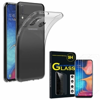 """Samsung Galaxy A20E/ A20e Dual SIM 5.8"""" SM-A202F/ SM-A202F/DS: Etui Housse Pochette Accessoires Coque gel UltraSlim - TRANSPARENT + 3 Films de protection d'écran Verre Trempé"""