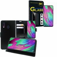 """Samsung Galaxy A40 5.9"""" SM-A405F/ SM-A405FN/ SM-A405F/DS/ SM-A405FN/DS: Etui Coque Housse Pochette Accessoires portefeuille support video cuir PU - NOIR + 3 Films de protection d'écran Verre Trempé"""