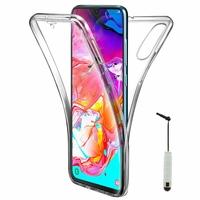 """Samsung Galaxy A70 6.7"""" SM-A705F/ SM-A7050/ SM-A705FN/ SM-A705F/DS [Les Dimensions EXACTES du telephone: 164.3 x 76.7 x 7.9 mm]: Coque Housse Silicone Gel TRANSPARENTE ultra mince 360° protection intégrale Avant et Arrière + mini Stylet - TRANSPARENT"""