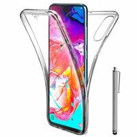 """Samsung Galaxy A70 6.7"""" SM-A705F/ SM-A7050/ SM-A705FN/ SM-A705F/DS [Les Dimensions EXACTES du telephone: 164.3 x 76.7 x 7.9 mm]: Coque Housse Silicone Gel TRANSPARENTE ultra mince 360° protection intégrale Avant et Arrière + Stylet - TRANSPARENT"""