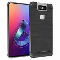 """Asus Zenfone 6 ZS630KL 6.4""""/ Zenfone 6z/ Zenfone 6 2019/ ASUS_I01WD: Coque Housse Silicone Souple en Fibre de Carbone Brossé motif TPU Case - NOIR"""